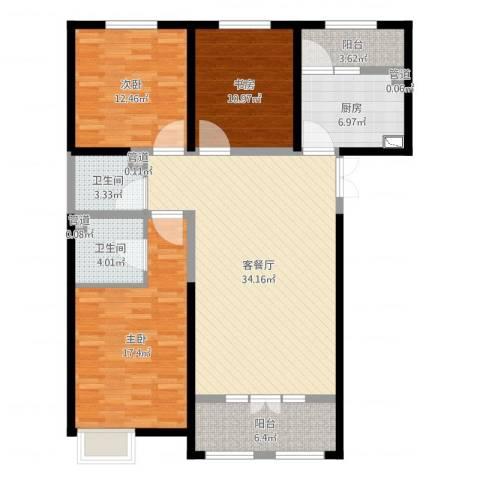 西华公馆3室2厅2卫1厨124.00㎡户型图