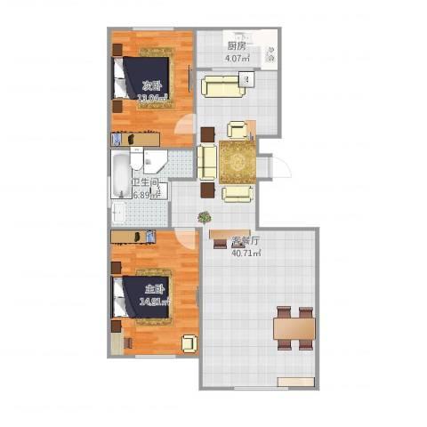 宝地・曼哈顿2室2厅1卫1厨100.00㎡户型图