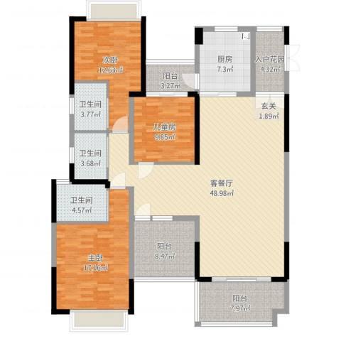 鼎峰源著3室2厅3卫1厨188.00㎡户型图