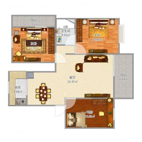 中基・幸福里3室1厅1卫1厨90.27㎡户型图