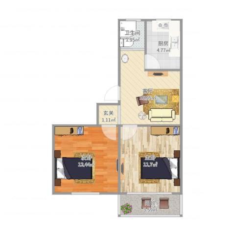 月苑三村2室1厅1卫1厨66.00㎡户型图