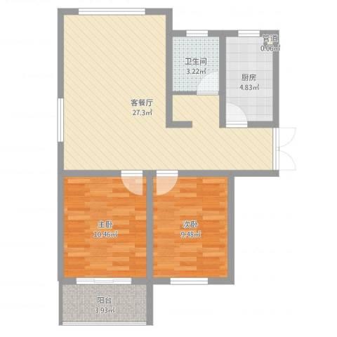 馨园丽景2室2厅1卫1厨74.00㎡户型图