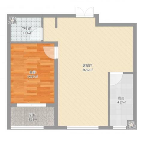 馨园丽景1室2厅1卫1厨60.00㎡户型图