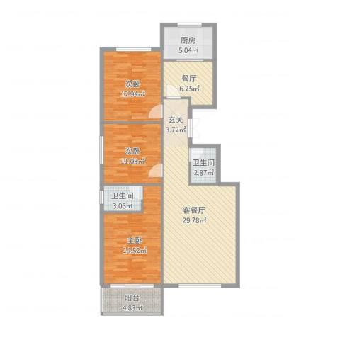 馨园丽景3室3厅2卫1厨113.00㎡户型图