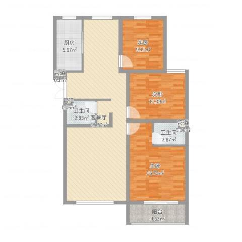 馨园丽景3室2厅2卫1厨113.00㎡户型图