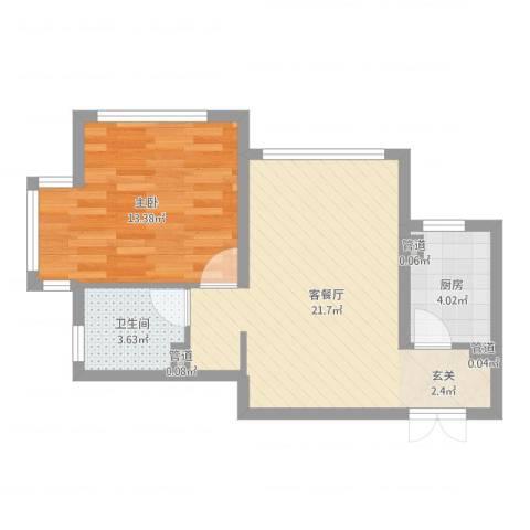 金地经典1室2厅1卫1厨54.00㎡户型图