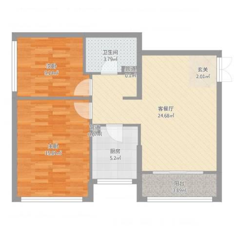 金地经典2室2厅1卫1厨78.00㎡户型图