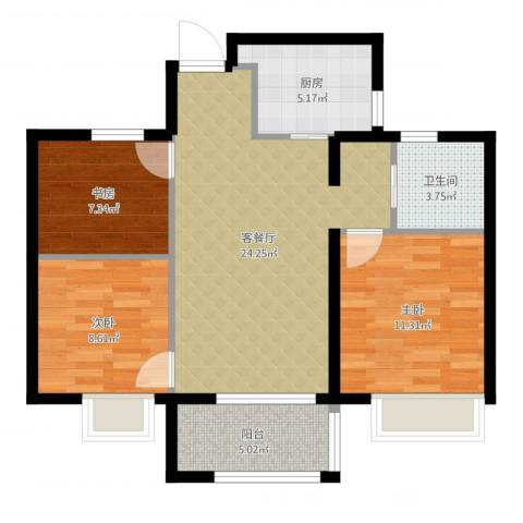 万科草庄西岸3室2厅1卫1厨82.00㎡户型图