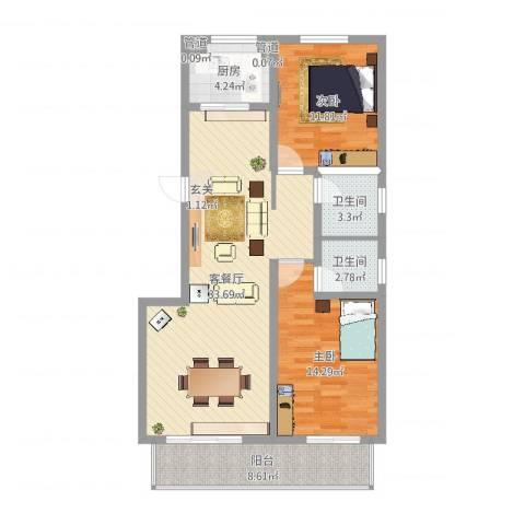 沧州孔雀花园小区(原王官屯旧城改造)2室2厅2卫1厨99.00㎡户型图