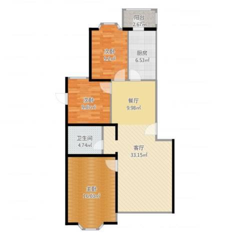 北景园芳洲苑3室1厅1卫1厨102.00㎡户型图