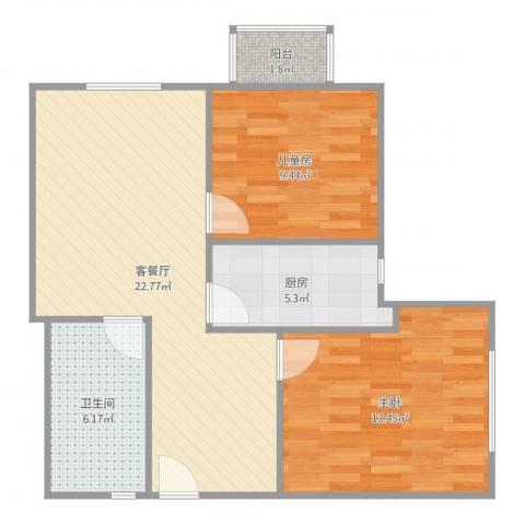 阳光华庭2室2厅1卫1厨74.00㎡户型图