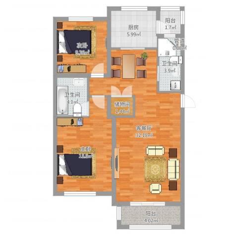 中环滨江花园2室2厅3卫1厨98.00㎡户型图