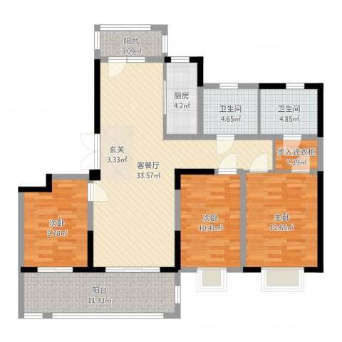 海门翠湖天地3室2厅2卫1厨121.00㎡户型图