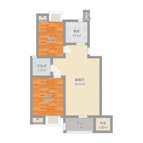 阳湖名城2室2厅5卫1厨76.00㎡户型图