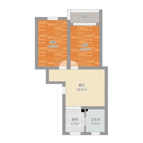 共康五村2室1厅1卫1厨74.00㎡户型图