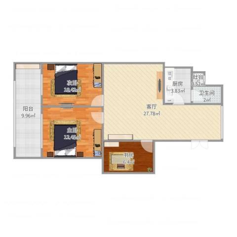 双银花园3室1厅1卫1厨92.00㎡户型图