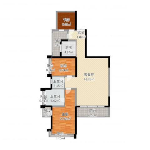 菩提园3室2厅2卫1厨134.00㎡户型图