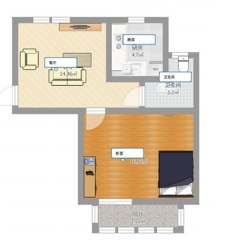 千汇一村1室1厅1卫1厨52.00㎡户型图