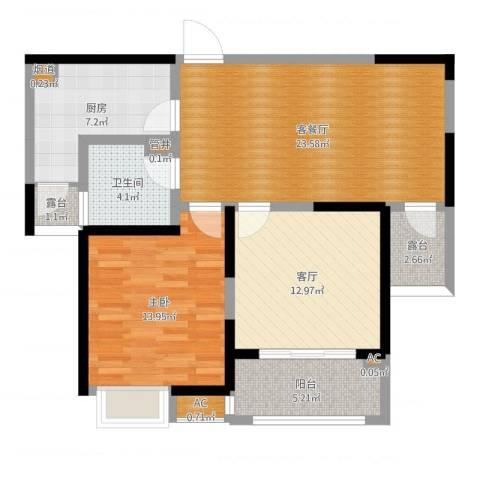 建屋海德公园1室3厅1卫1厨90.00㎡户型图