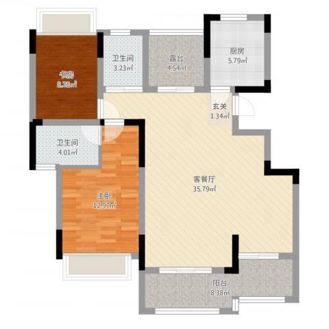 三盛颐景御园2室2厅2卫1厨104.00㎡户型图