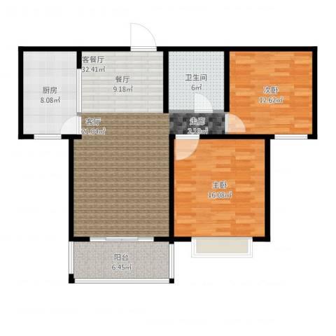 黄金海岸2室2厅1卫1厨113.00㎡户型图