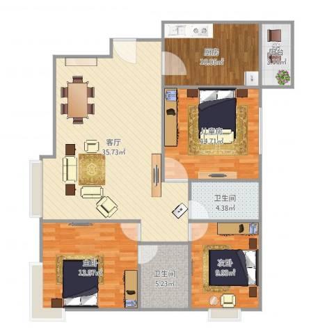 沈阳恒大绿洲3室1厅2卫1厨121.00㎡户型图