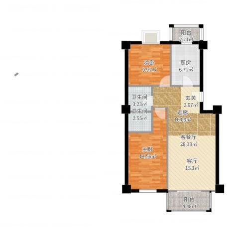 西航花园2室2厅2卫1厨100.00㎡户型图