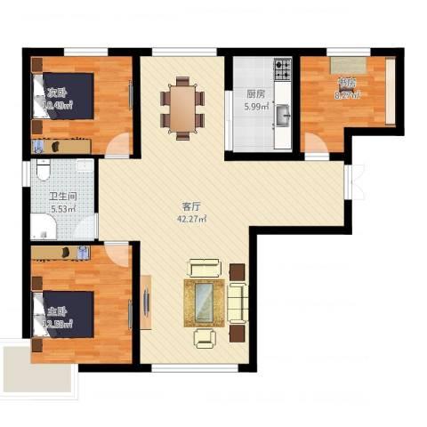恒盛皇家花园3室1厅1卫1厨120.00㎡户型图