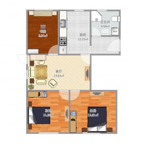 龙柏二村3室1厅1卫1厨81.00㎡户型图