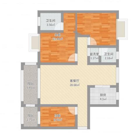 德雅园2室4厅2卫1厨98.00㎡户型图