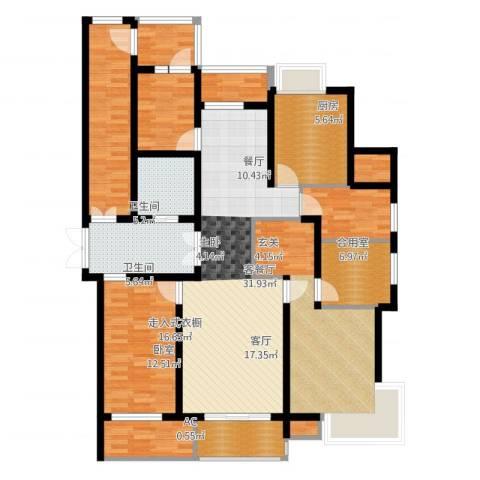 米兰公寓2室2厅2卫1厨123.22㎡户型图