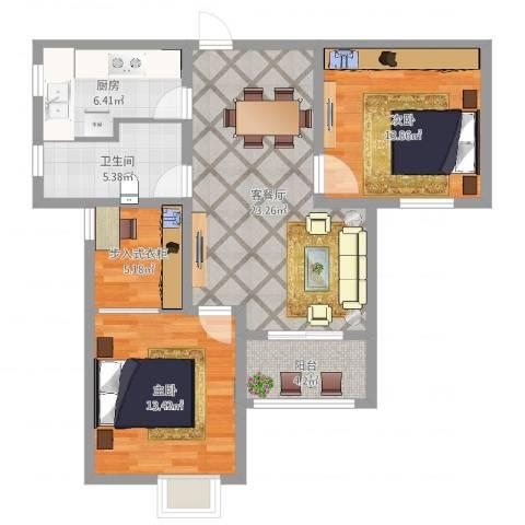 万泰水晶城2室2厅1卫1厨90.00㎡户型图