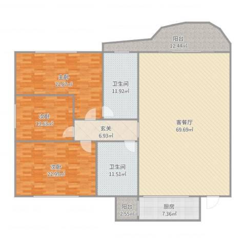 丽景花园3室2厅2卫1厨227.00㎡户型图