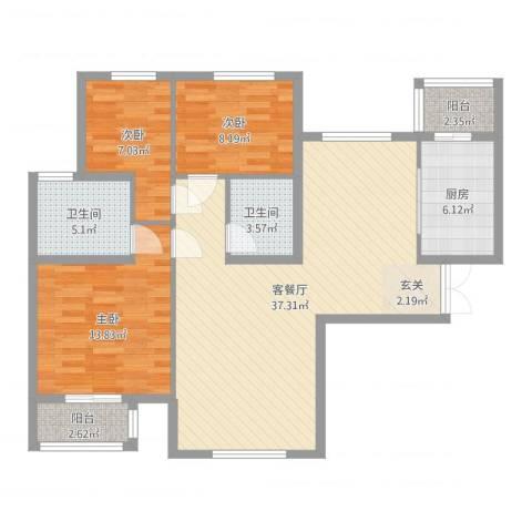 文鼎轩3室2厅2卫1厨108.00㎡户型图