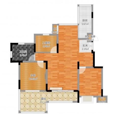 中星湖滨城四期2室1厅3卫1厨50.00㎡户型图