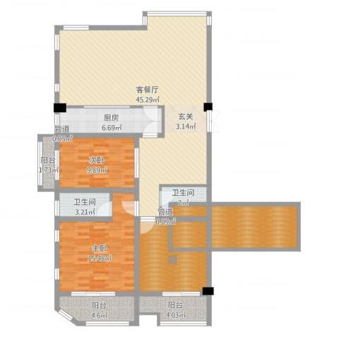 红星8号2室2厅2卫1厨144.00㎡户型图