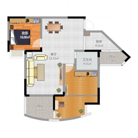 奥兰半岛二期1室1厅1卫1厨98.00㎡户型图