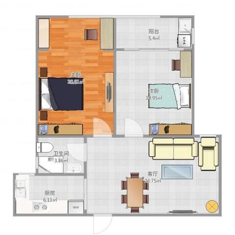 碧水华庭2室1厅1卫1厨100.00㎡户型图