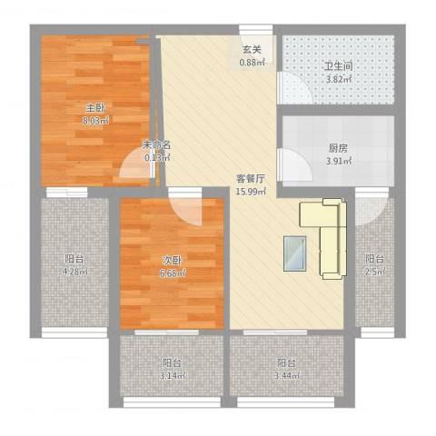 永康城市花园2室2厅1卫1厨77.00㎡户型图