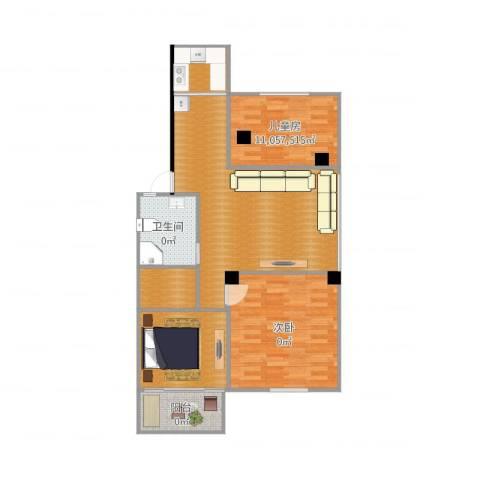 中山北园2室2厅2卫1厨108.00㎡户型图