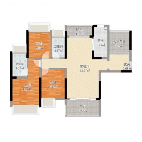 金山湖江湾公馆(一期)3室2厅2卫1厨129.00㎡户型图