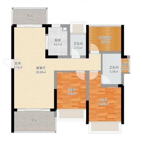 金山湖江湾公馆(一期)2室2厅2卫1厨110.00㎡户型图