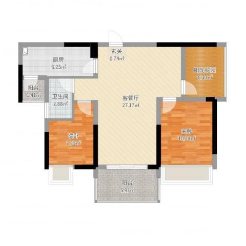 金山湖江湾公馆(一期)2室2厅1卫1厨97.00㎡户型图