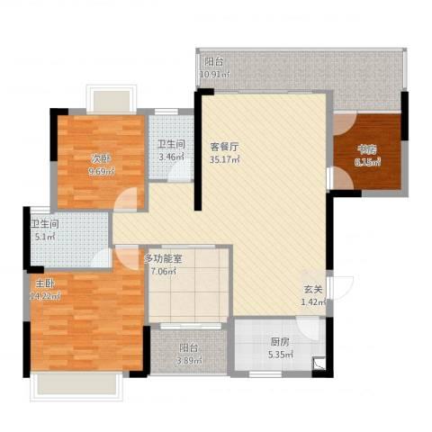 金山湖卧龙传说3室2厅2卫1厨142.00㎡户型图