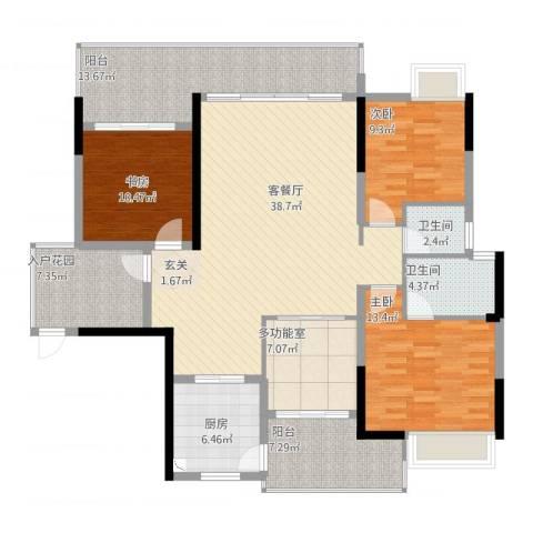 金山湖卧龙传说3室2厅2卫1厨170.00㎡户型图