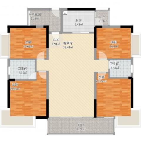 金山湖卧龙传说4室2厅2卫1厨165.00㎡户型图
