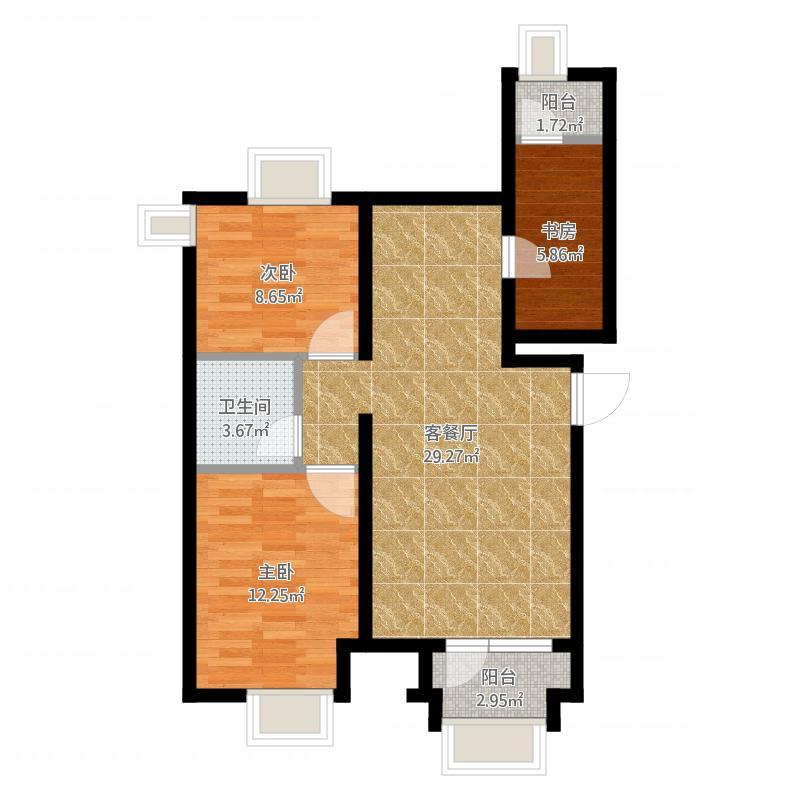 保利茉莉公馆90.00㎡b3-1户型2室1厅1卫1厨-副本-副本-副本-副本-副本-副本-副本-副本
