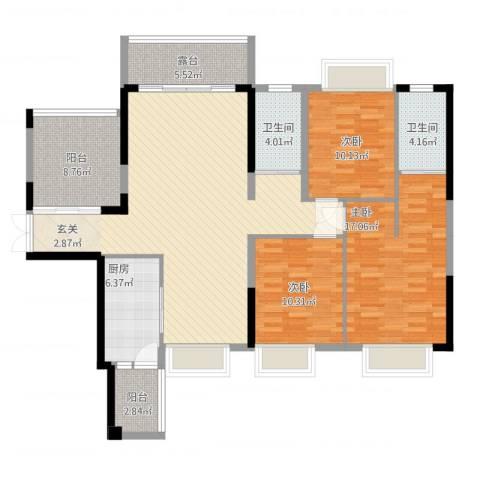 鼎峰源著3室2厅2卫1厨154.00㎡户型图
