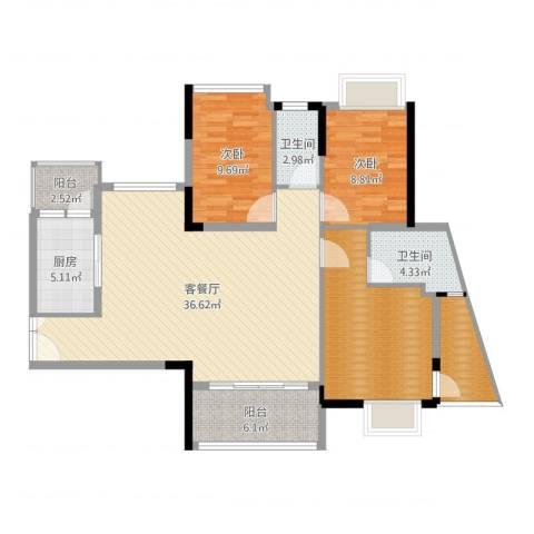 丽景名筑2室2厅2卫1厨117.00㎡户型图