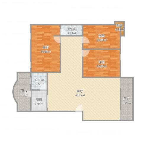 康庭苑3室1厅2卫1厨148.00㎡户型图